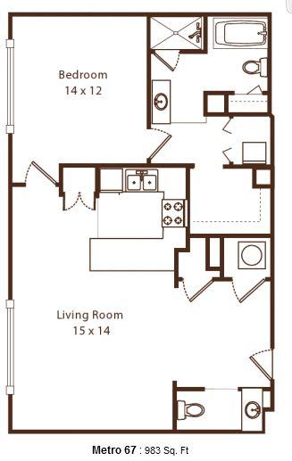 1 Bedroom 2 Bathrooms Apartment for rent at Metro67 in Memphis, TN