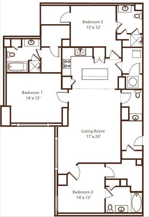3 Bedrooms 3 Bathrooms Apartment for rent at Metro67 in Memphis, TN