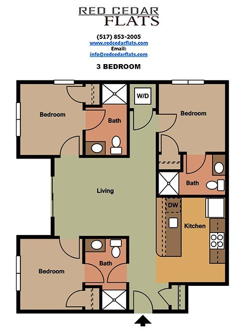 3 Bedrooms 3 Bathrooms Apartment for rent at Red Cedar Flats in East Lansing, MI