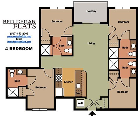 4 Bedrooms 4+ Bathrooms Apartment for rent at Red Cedar Flats in East Lansing, MI