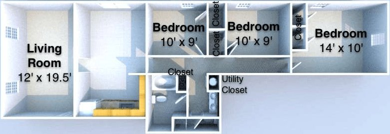 3 Bedrooms 2 Bathrooms Apartment for rent at Columbia Pointe in West Lafayette, IN