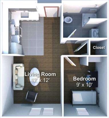 1 Bedroom 1 Bathroom Apartment for rent at Crosswalk in West Lafayette, IN