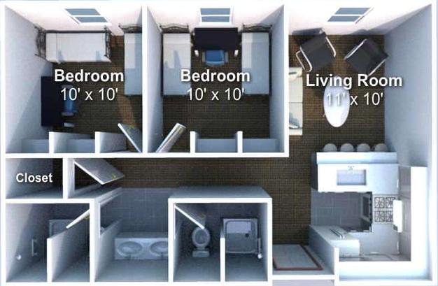 2 Bedrooms 2 Bathrooms Apartment for rent at Crosswalk in West Lafayette, IN