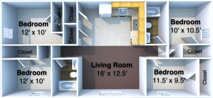 4 Bedrooms 2 Bathrooms Apartment for rent at Deville in West Lafayette, IN