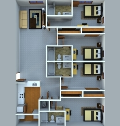 4 Bedrooms 4+ Bathrooms Apartment for rent at Grant Street Station in West Lafayette, IN
