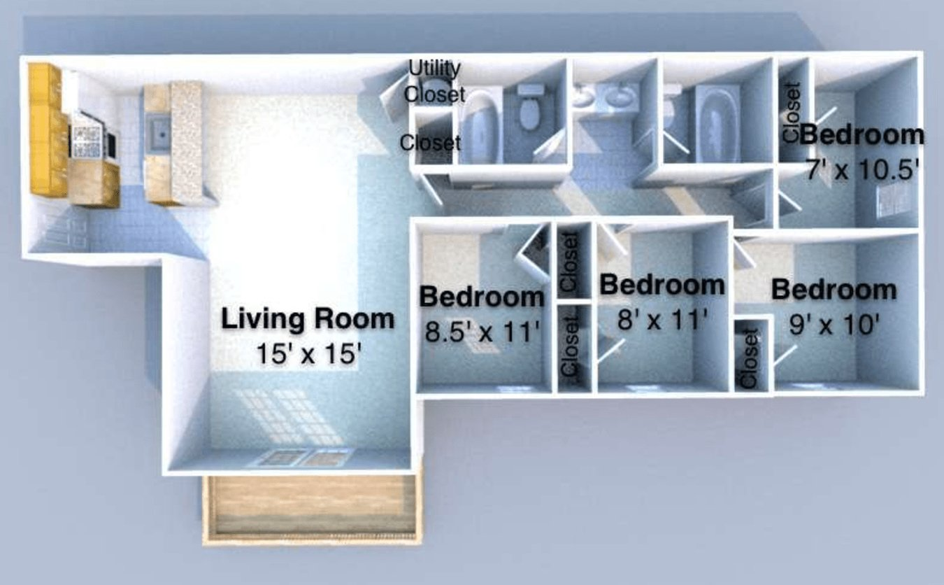 4 Bedrooms 2 Bathrooms Apartment for rent at Napa in West Lafayette, IN
