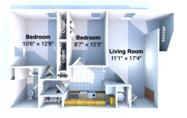 2 Bedrooms 1 Bathroom Apartment for rent at Uptown West in Lafayette, IN