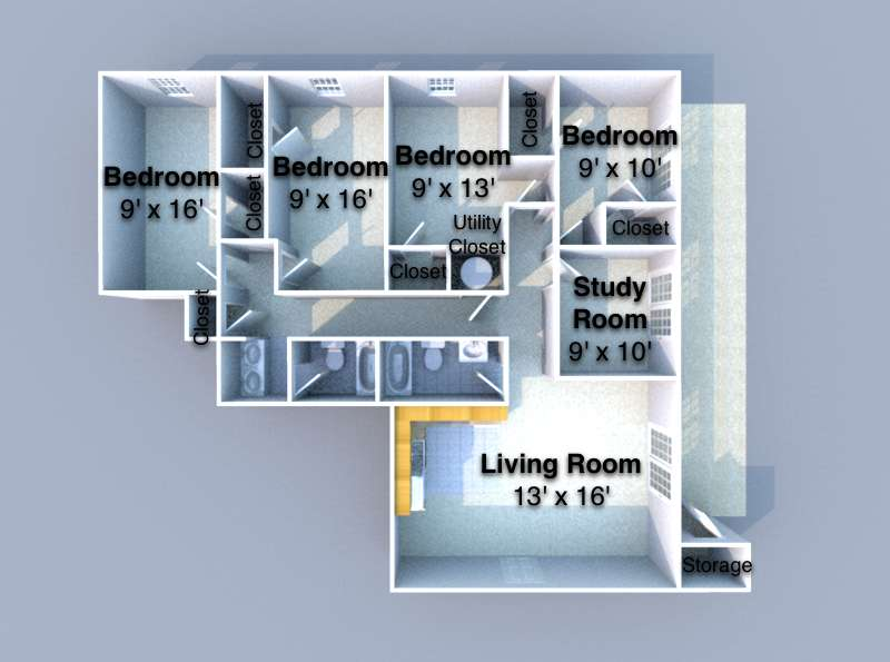 4 Bedrooms 2 Bathrooms Apartment for rent at Windsong in West Lafayette, IN