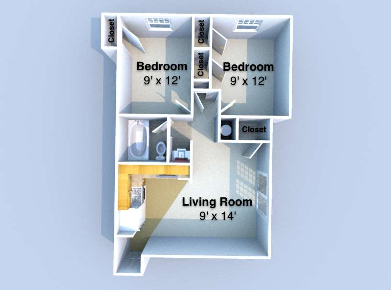 2 Bedrooms 1 Bathroom Apartment for rent at Waterford Place in West Lafayette, IN