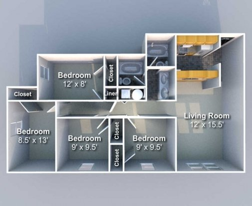 4 Bedrooms 2 Bathrooms Apartment for rent at Southfork in West Lafayette, IN