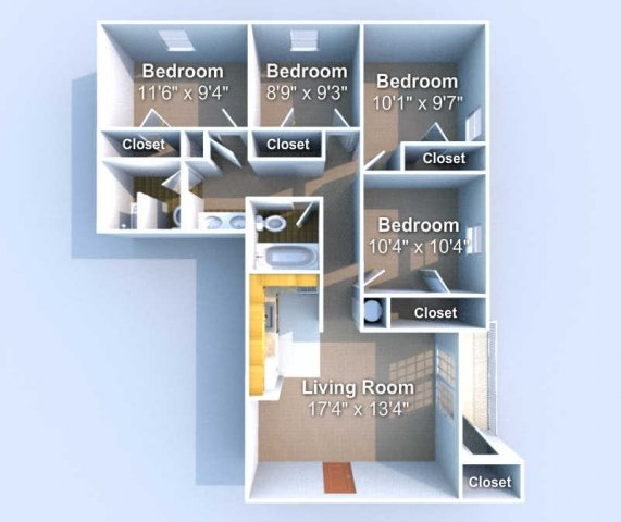 4 Bedrooms 2 Bathrooms Apartment for rent at Stratford 1 in West Lafayette, IN