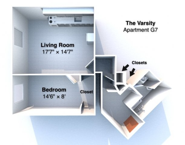1 Bedroom 1 Bathroom Apartment for rent at The Varsity in West Lafayette, IN