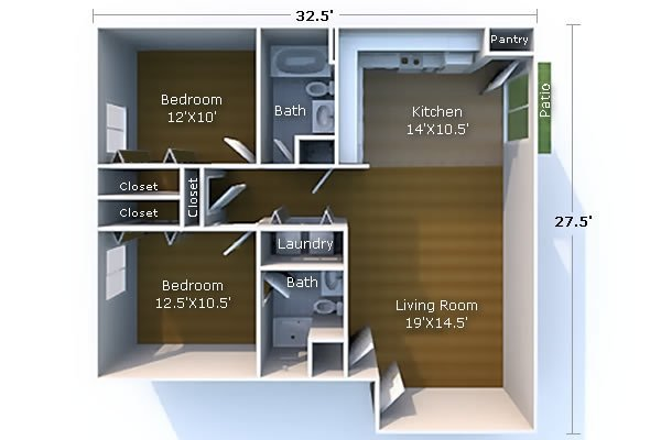 2 Bedrooms 2 Bathrooms Apartment for rent at Campus City in West Lafayette, IN