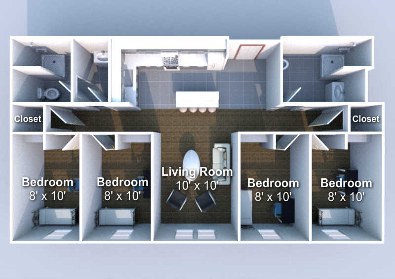 4 Bedrooms 2 Bathrooms Apartment for rent at Crosswalk in West Lafayette, IN