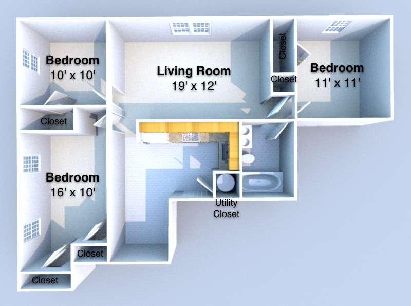 3 Bedrooms 1 Bathroom Apartment for rent at Harrison Corner in West Lafayette, IN