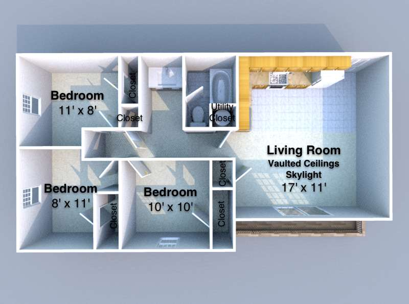 3 Bedrooms 1 Bathroom Apartment for rent at K2 in West Lafayette, IN