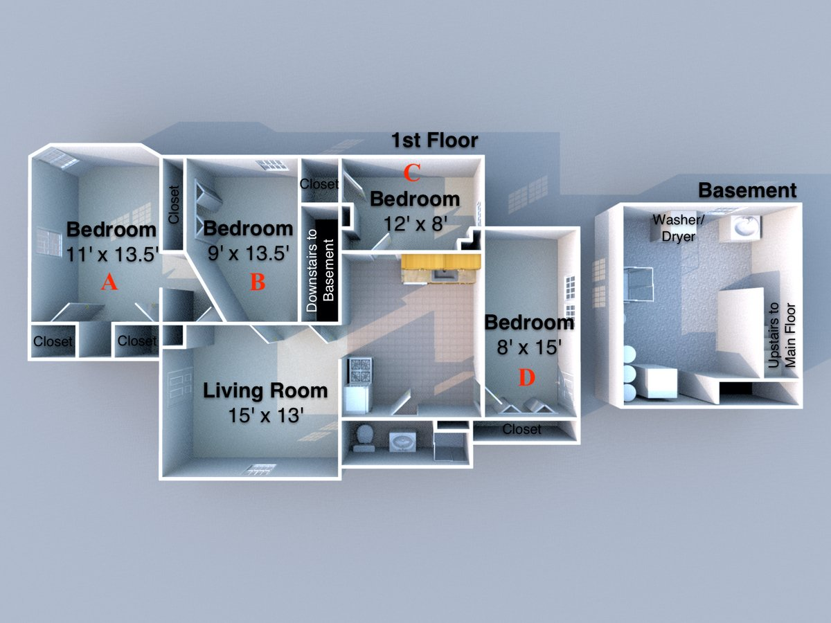 4 Bedrooms 2 Bathrooms House for rent at Arbor House in West Lafayette, IN