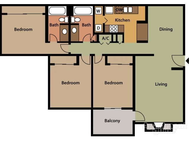 3 Bedrooms 2 Bathrooms Apartment for rent at Hickory Knoll Apartments in Birmingham, AL