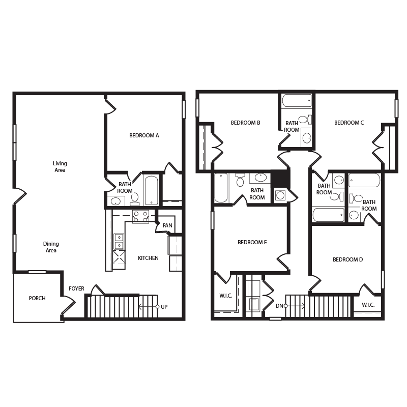 5 Bedrooms 4+ Bathrooms Apartment for rent at The Retreat At Louisville Student Apartments in Louisville, KY