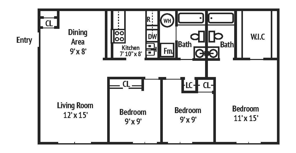 3 Bedrooms 2 Bathrooms Apartment for rent at Autumn Springs Apartments in Columbus, OH