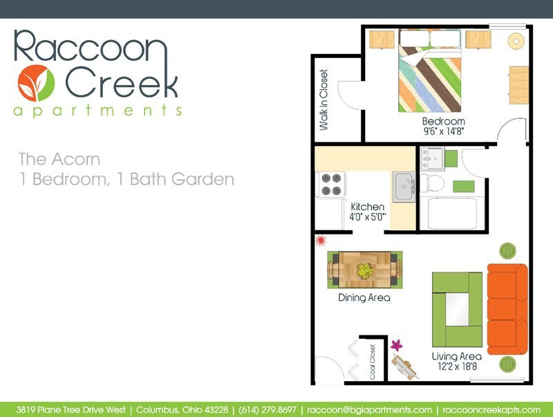1 Bedroom 1 Bathroom Apartment for rent at Raccoon Creek Apartments in Columbus, OH
