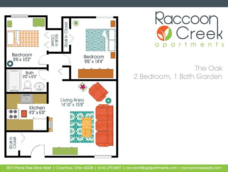 2 Bedrooms 1 Bathroom Apartment for rent at Raccoon Creek Apartments in Columbus, OH