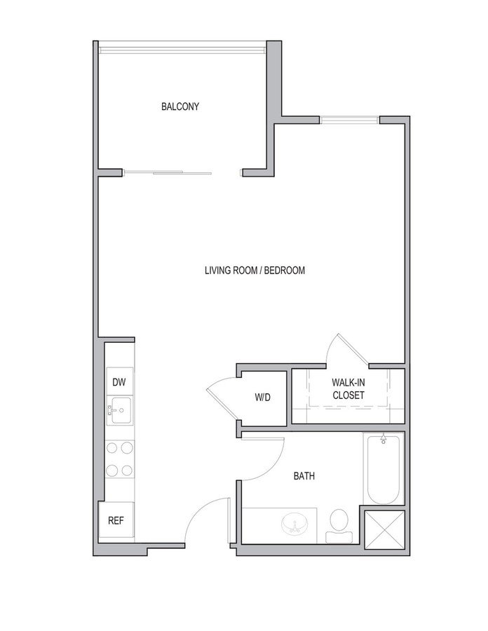 Studio 1 Bathroom Apartment for rent at Vivere Flats in Aneheim, CA