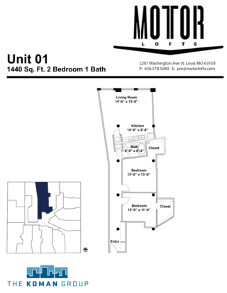 2 Bedrooms 1 Bathroom Apartment for rent at The Motor Lofts in St Louis, MO