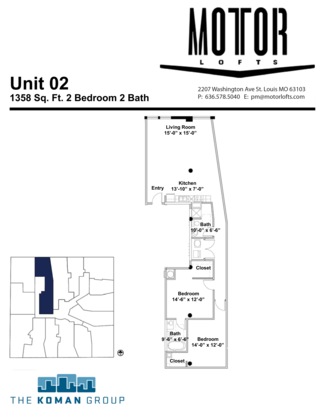 2 Bedrooms 2 Bathrooms Apartment for rent at The Motor Lofts in St Louis, MO