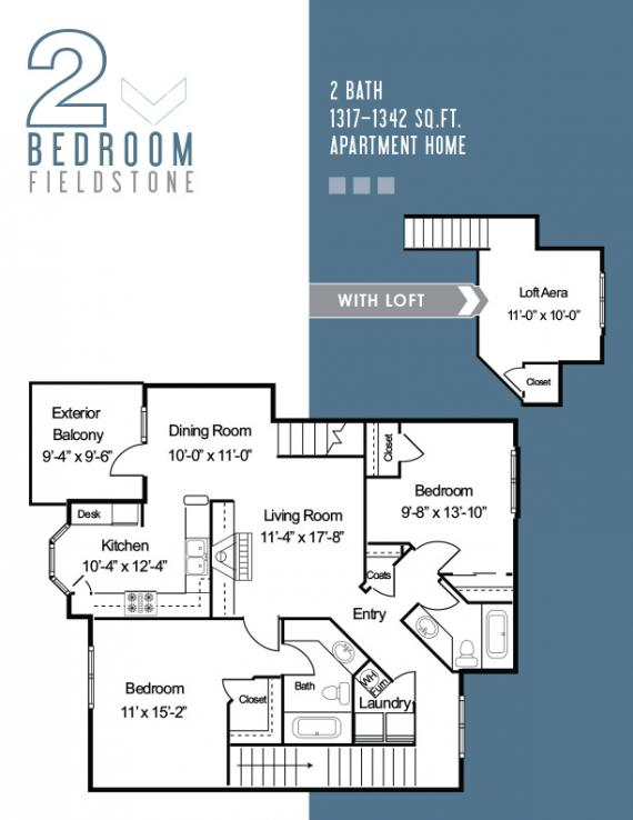 2 Bedrooms 2 Bathrooms Apartment for rent at The Fields in Bloomington, IN