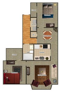 2 Bedrooms 1 Bathroom Apartment for rent at Gayoso House in Memphis, TN