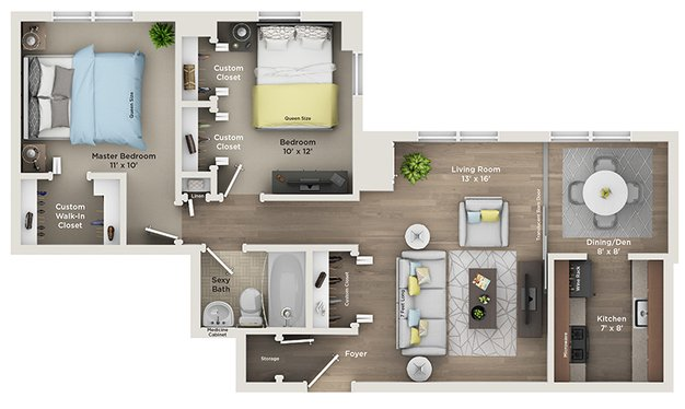 2 Bedrooms 1 Bathroom Apartment for rent at Plaza Club City Apartments in Kansas City, MO