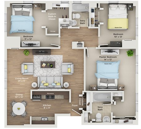 3 Bedrooms 2 Bathrooms Apartment for rent at Plaza Club City Apartments in Kansas City, MO