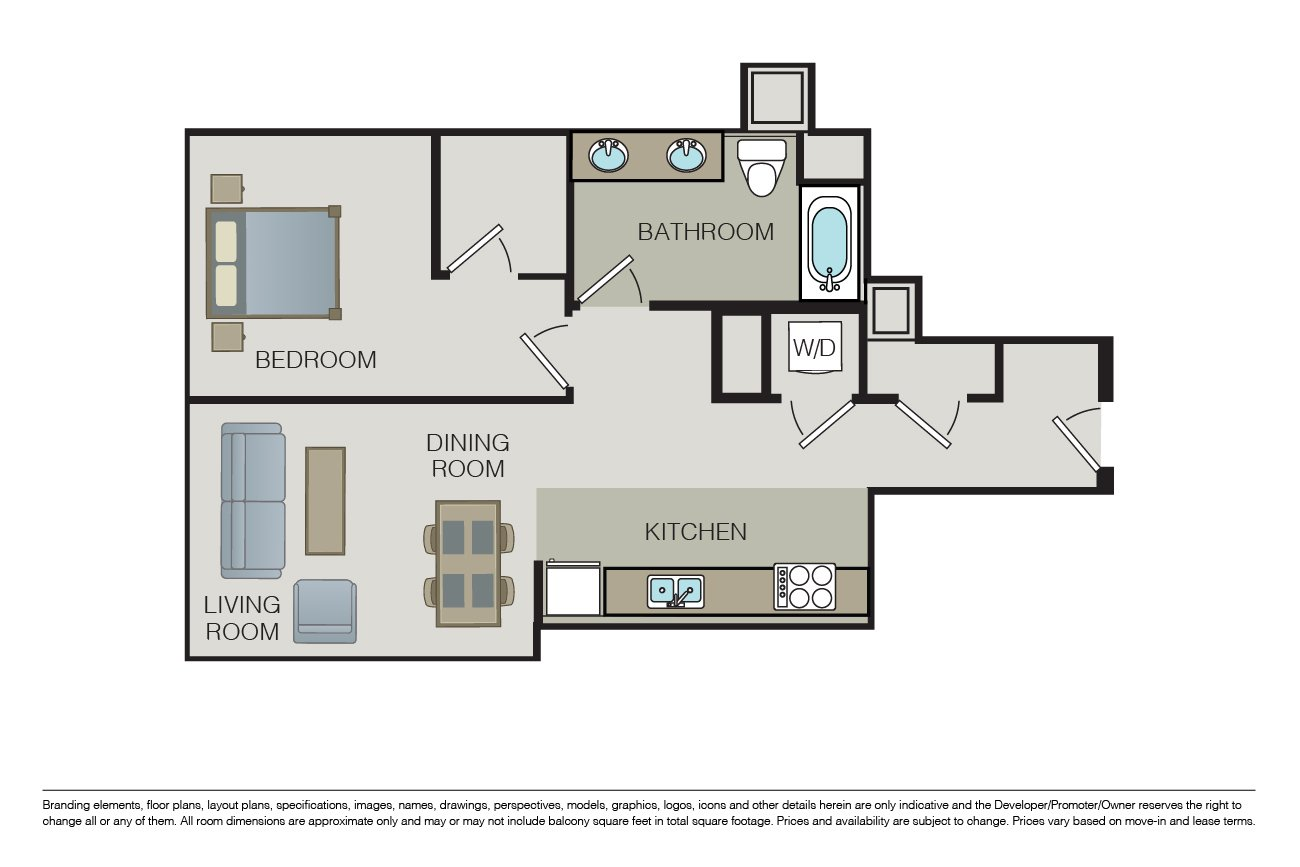 1 Bedroom 1 Bathroom Apartment for rent at One South Market in San Jose, CA