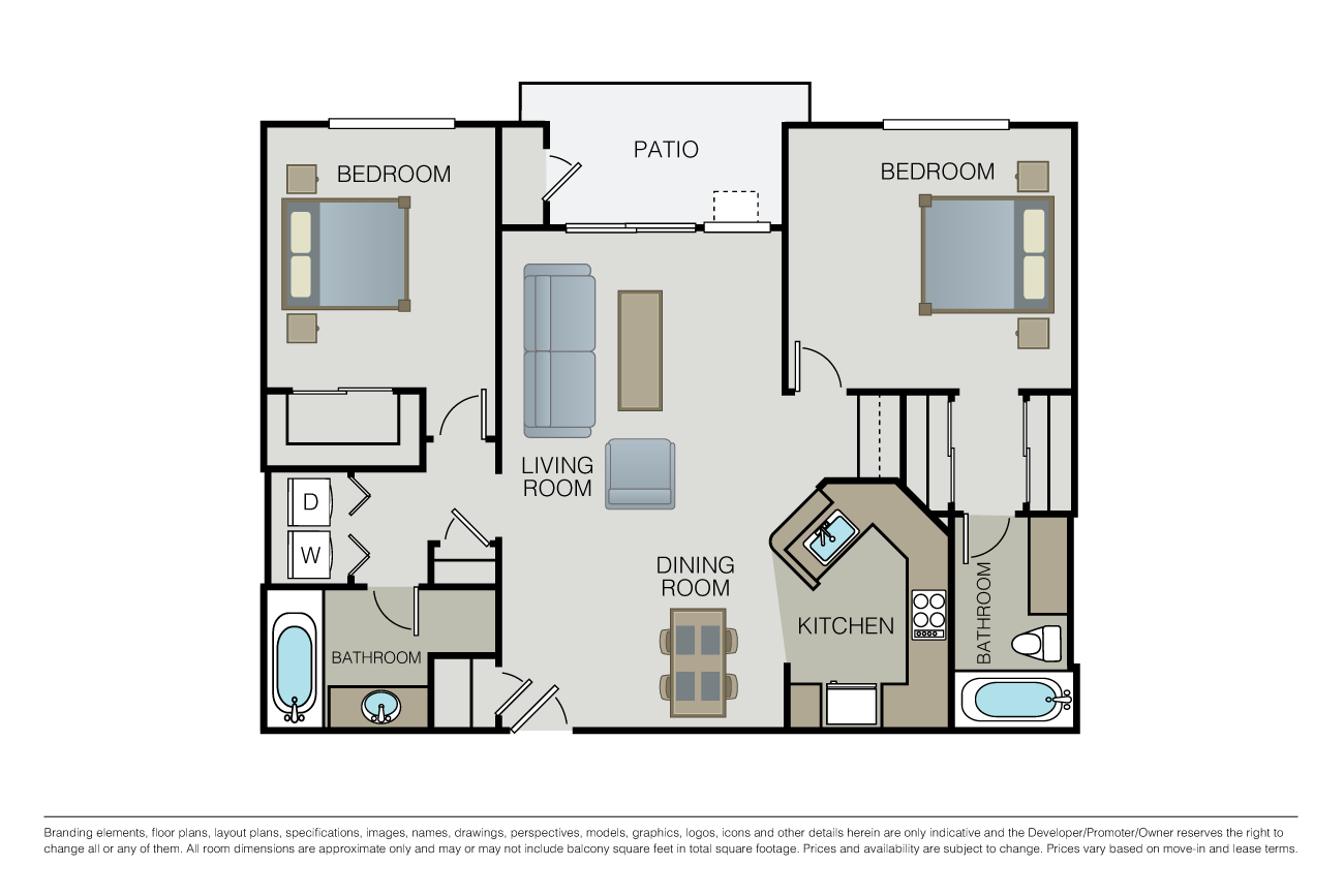 2 Bedrooms 2 Bathrooms Apartment for rent at Waterford Place in San Jose, CA