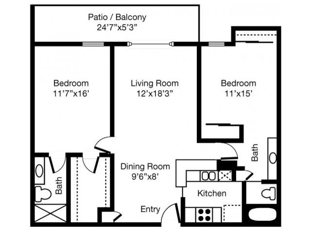 2 Bedrooms 2 Bathrooms Apartment for rent at Eaves West Valley in San Jose, CA