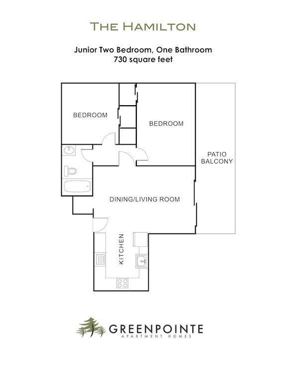 2 Bedrooms 1 Bathroom Apartment for rent at Greenpointe Apartments in Santa Clara, CA