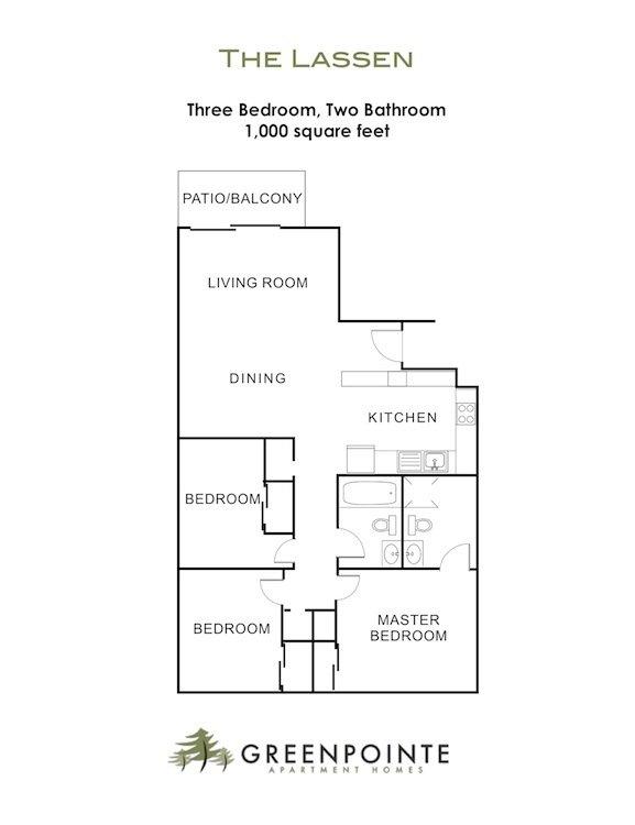 3 Bedrooms 2 Bathrooms Apartment for rent at Greenpointe Apartments in Santa Clara, CA