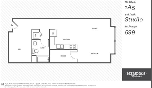 Studio 1 Bathroom Apartment for rent at Meridian At Midtown in San Carlos St, SAN JOSE