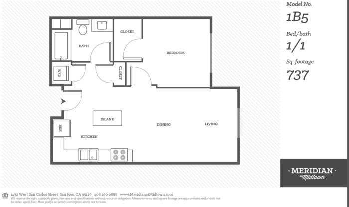 1 Bedroom 1 Bathroom Apartment for rent at Meridian At Midtown in San Carlos St, SAN JOSE