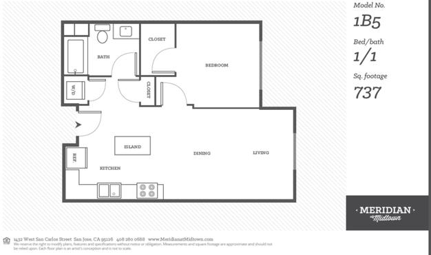 1 Bedroom 1 Bathroom Apartment for rent at Meridian At Midtown in San Carlos St, SAN JOSE