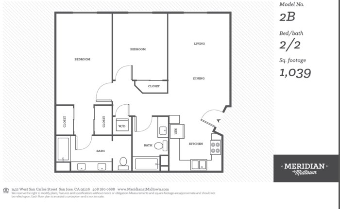 2 Bedrooms 2 Bathrooms Apartment for rent at Meridian At Midtown in San Carlos St, SAN JOSE