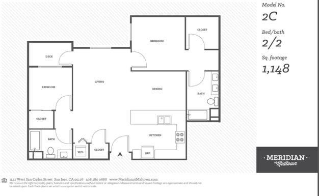 2 Bedrooms 2 Bathrooms Apartment for rent at Meridian At Midtown in San Carlos St, SAN JOSE