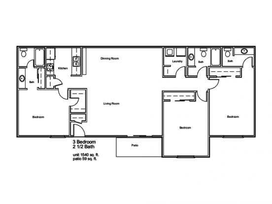 3 Bedrooms 2 Bathrooms Apartment for rent at Jasmine At Marietta Crossing in Marietta, GA