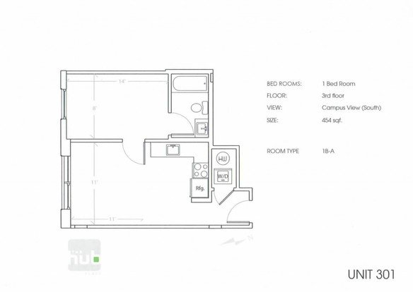 1 Bedroom 1 Bathroom Apartment for rent at The Hub in Philadelphia, PA
