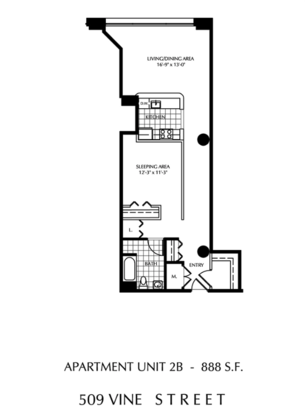 1 Bedroom 1 Bathroom Apartment for rent at The Lofts At 509 Vine in Philadelphia, PA