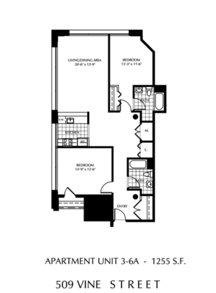2 Bedrooms 2 Bathrooms Apartment for rent at The Lofts At 509 Vine in Philadelphia, PA