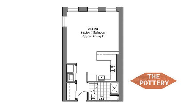 Studio 1 Bathroom Apartment for rent at The Pottery in Philadelphia, PA