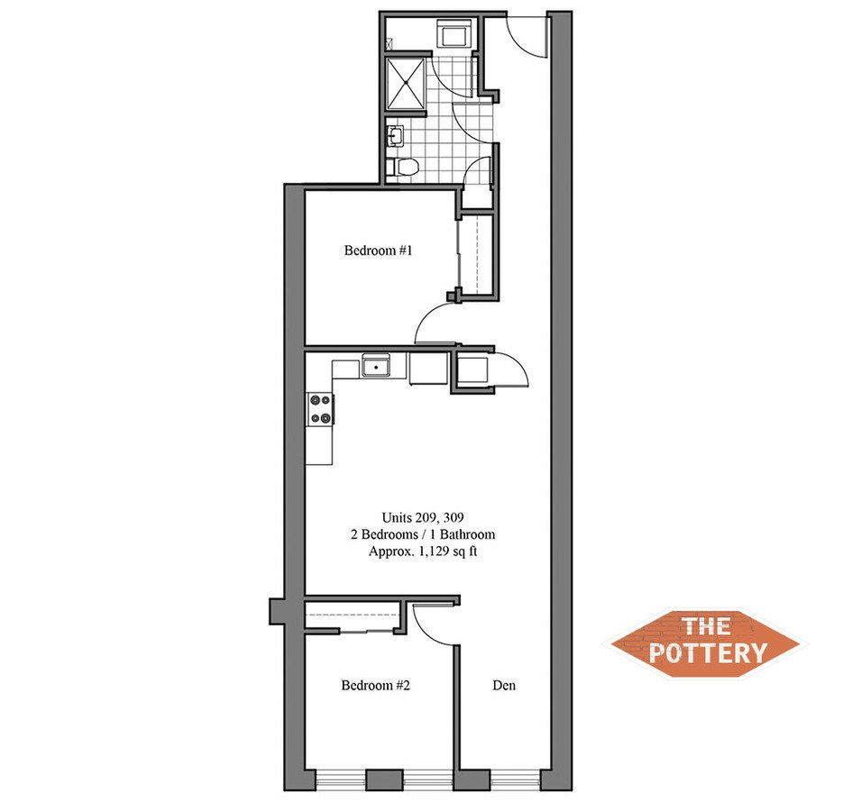 2 Bedrooms 2 Bathrooms Apartment for rent at The Pottery in Philadelphia, PA
