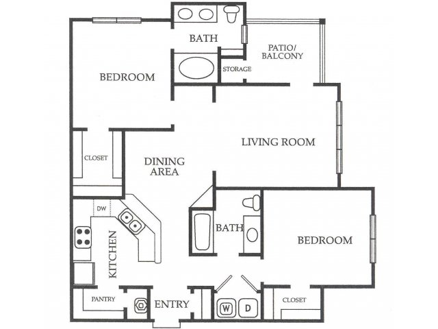 2 Bedrooms 2 Bathrooms Apartment for rent at Paces Park Apartments in Decatur, GA